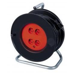 RIBITECH Enrouleur électrique 25m de câble HO5VV-F 3x1,5mm² 4 prises pieds métal