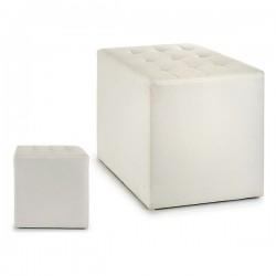 Pouf Blanc Cuir (45 x 45 x...