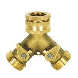 """RIBILAND Nez de robinet laiton fil. 3/4"""" avec 2 sorties fil M 3/4""""+ robinet arrêt"""