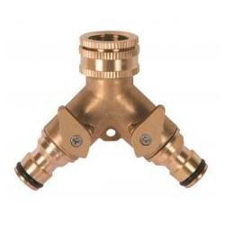 """RIBILAND Nez de robinet laiton fil. 3/4"""" avec 2 sorties raccord rapide + robinet arrêt"""