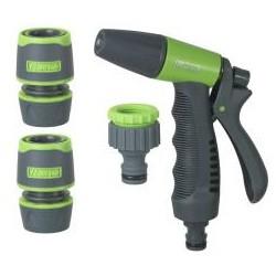 RIBILAND Kit pistolet+raccords+nez robinet 1/2-3/4  bi-matière plastique sur carte