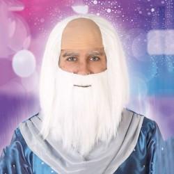 Perruque avec barbe Blanche