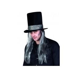 Chapeau haut de forme gothique avec cheveux adulte Halloween taille unique