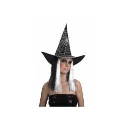 Chapeau avec perruque sorcière noire et blanche femme Halloween Taille Unique