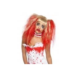 Perruque poupée blonde sanglante coifée femme Halloween Taille Unique